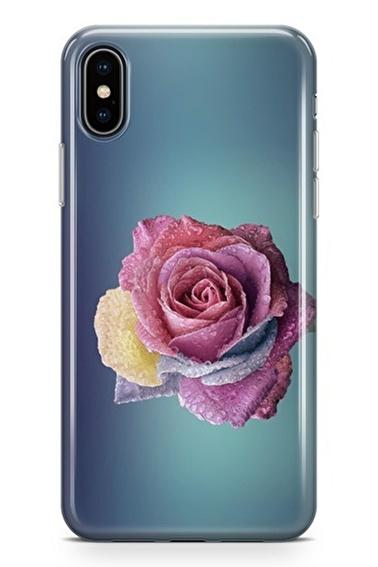 Lopard iPhone Xs Max Kılıf Silikon Arka Kapak Koruyucu Donmuş Gül Desenli Full HD Baskılı Renkli